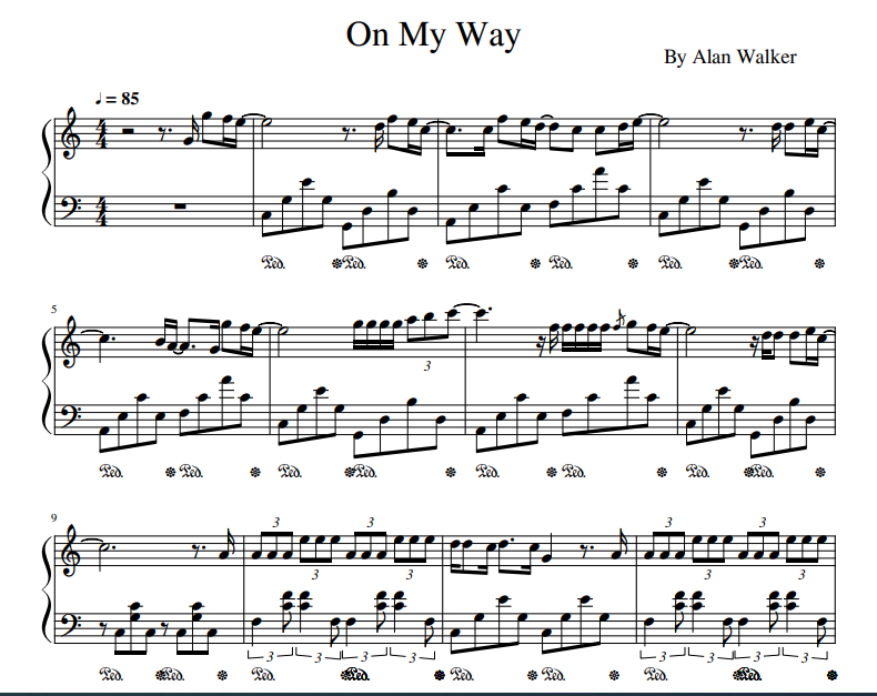 Alan Walker - On My Way sheet music for piano