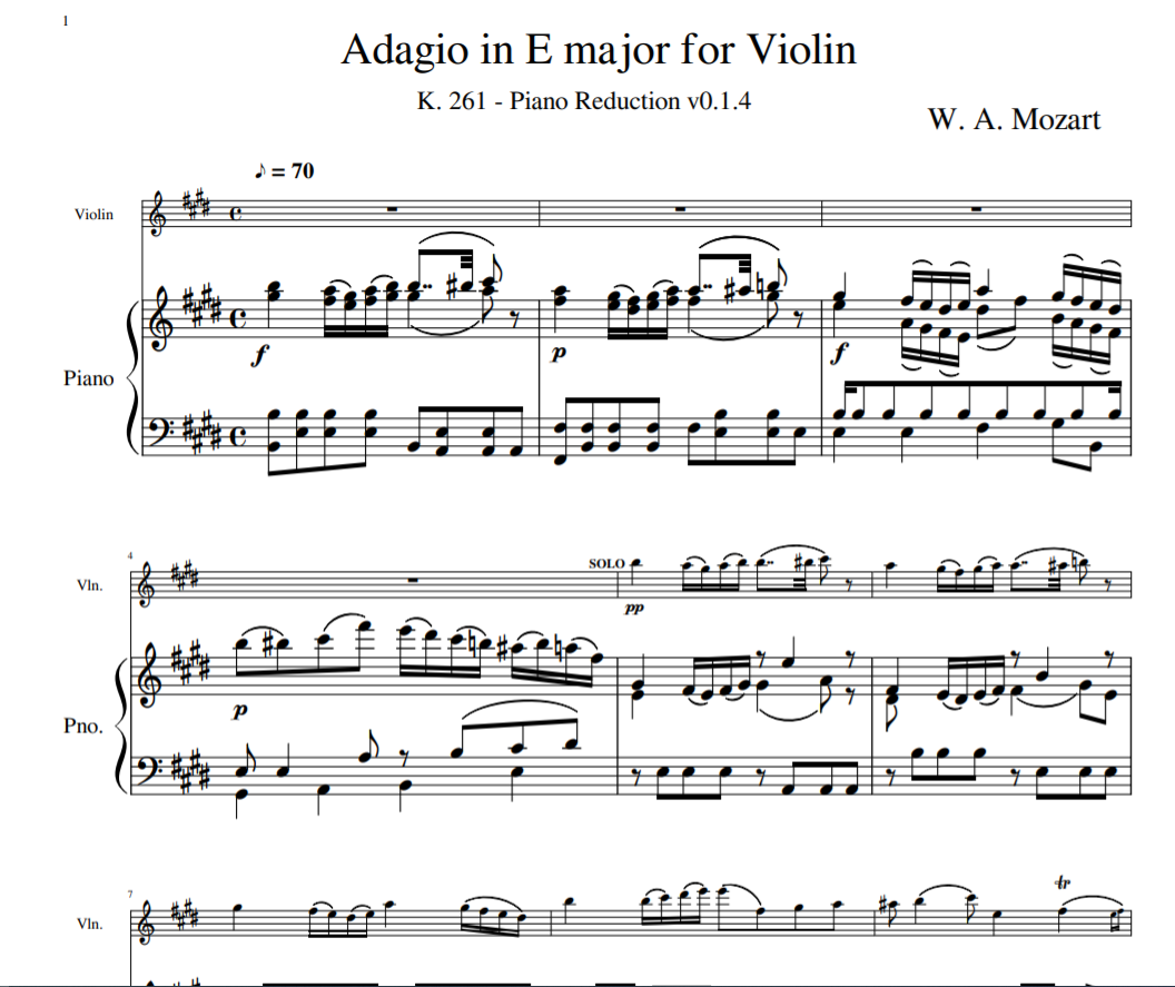 W. A. Mozar - Adagio in E major K. 261 for Violin and piano