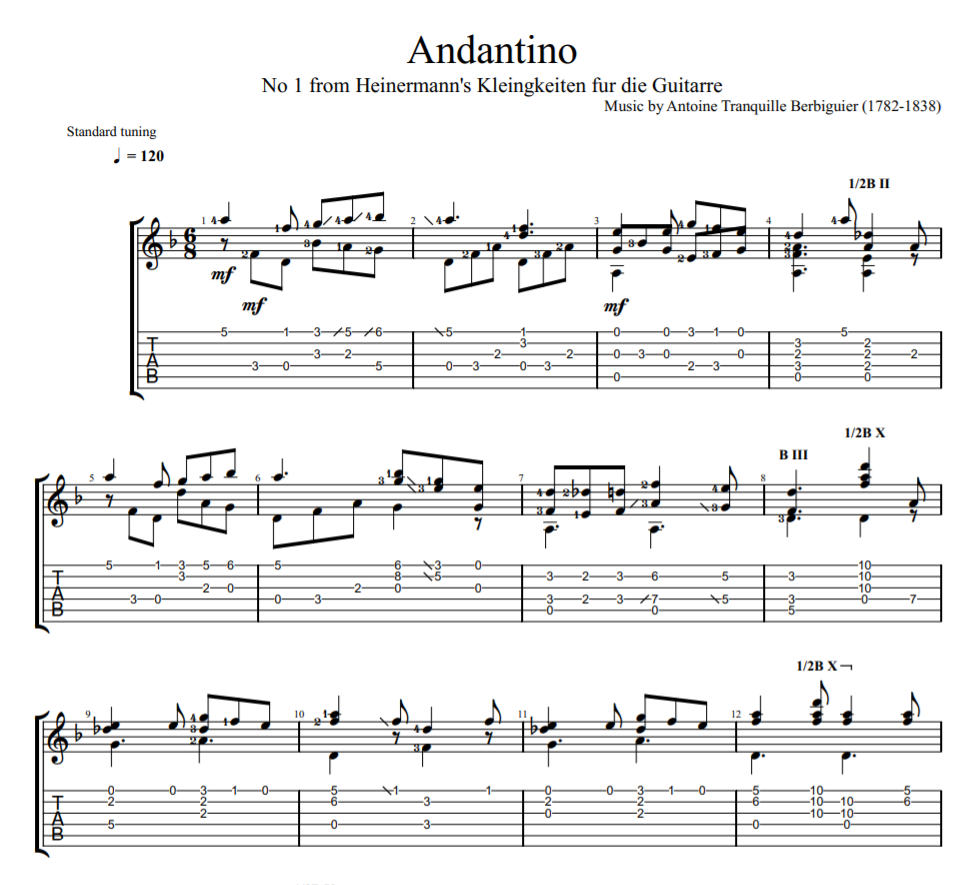 Andantino sheet music for guitar tab
