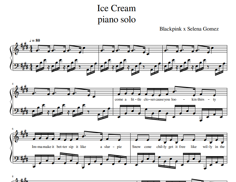 Blackpink - Ice Cream sheet music for piano solo