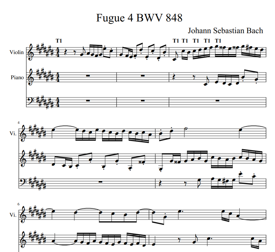 Johann Sebastian Bach - Fugue 4 BWV 848 sheet music for violin and piano