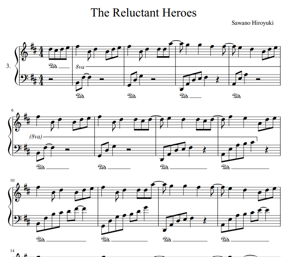 The Reluctant Heroes sheet piano