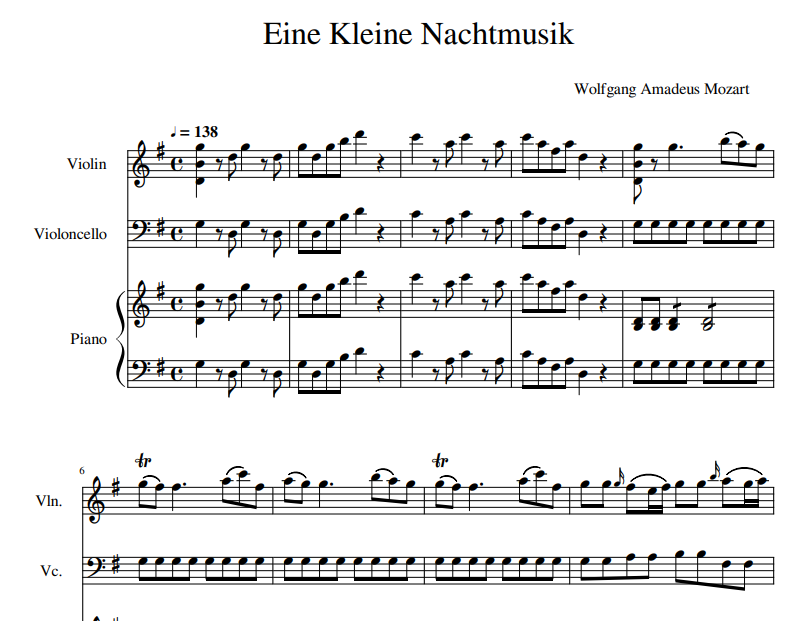 Eine Kleine Nachtmusik sheet music for violin and piano