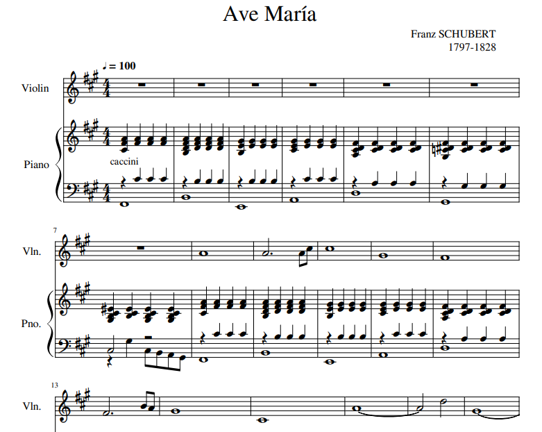 Franz Schubert - Ave María sheet music for violin and piano