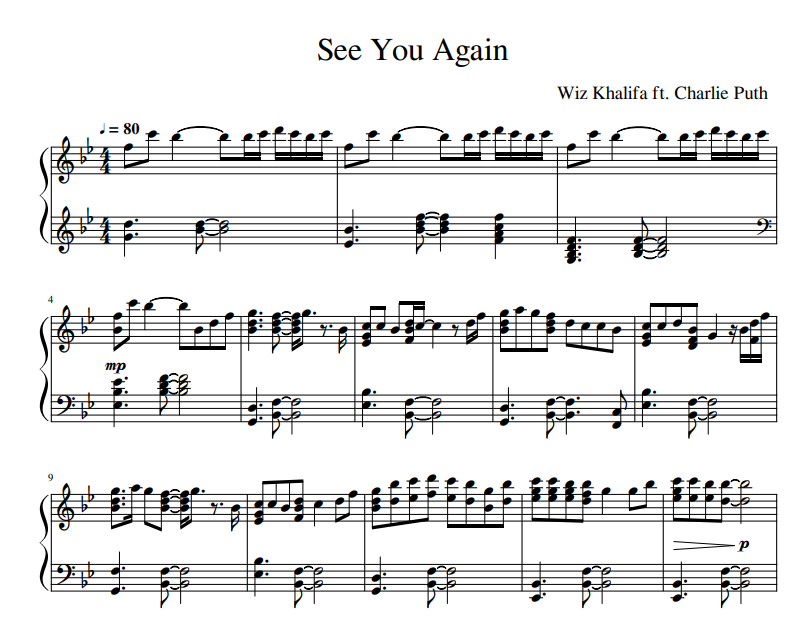 Charlie Puth - See You Again sheet music for piano