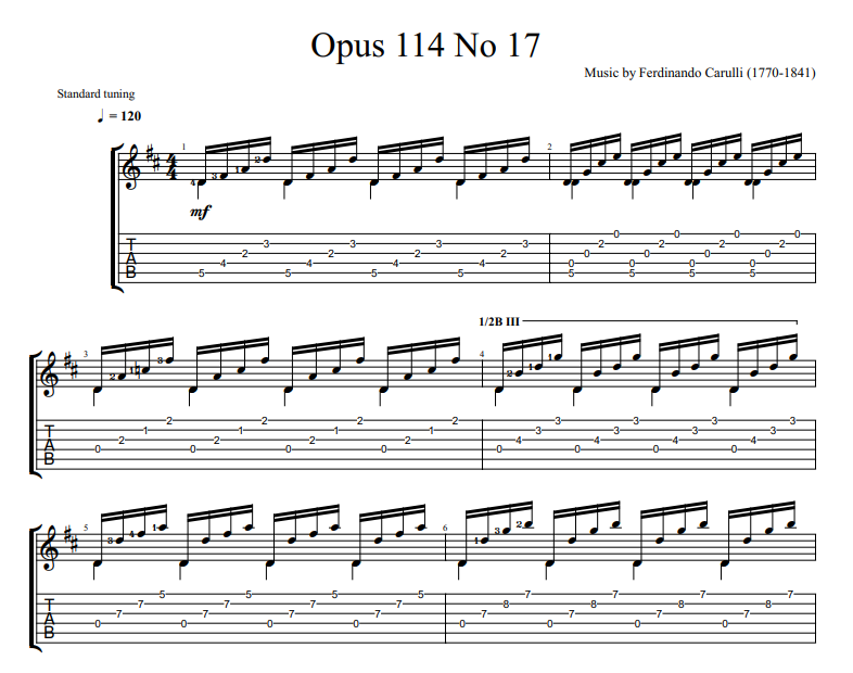 Ferdinando Carulli - Opus 114 No 17 for guitar tab