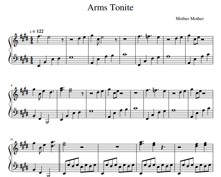 Mother Mother - Arms Tonite sheet music for piano