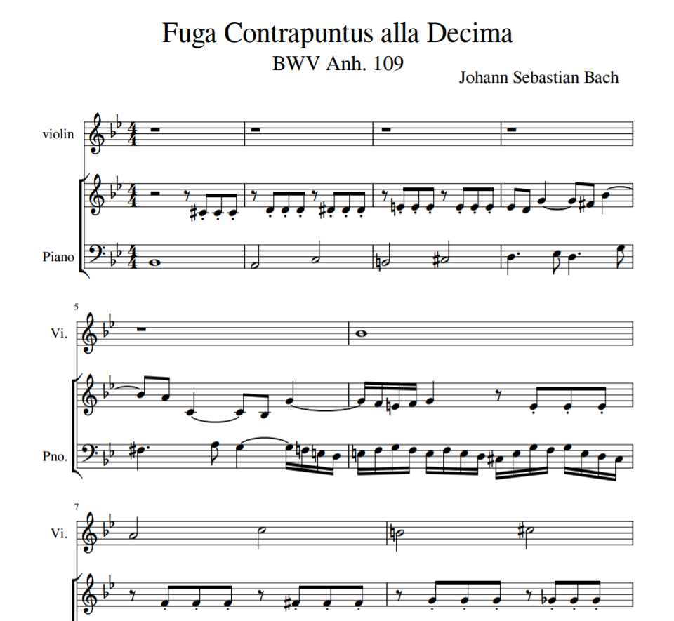 BWV Anh. 109 - Fuga Contrapuntus alla Decima sheet music for violin and piano