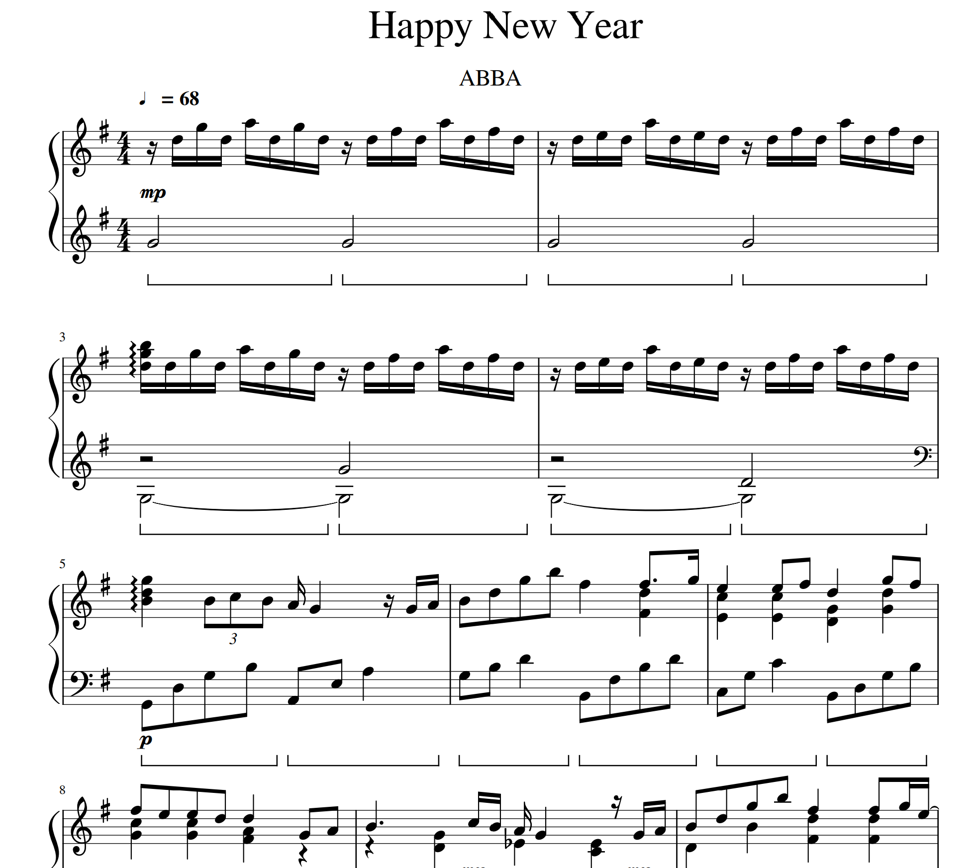 ABBA- Happy New Year sheet music for piano