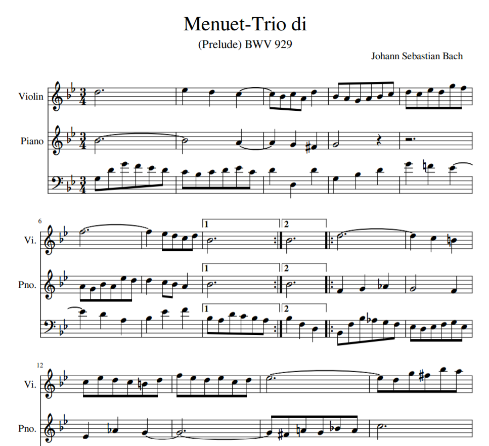 Menuet-Trio di BWV 929 for violin and piano
