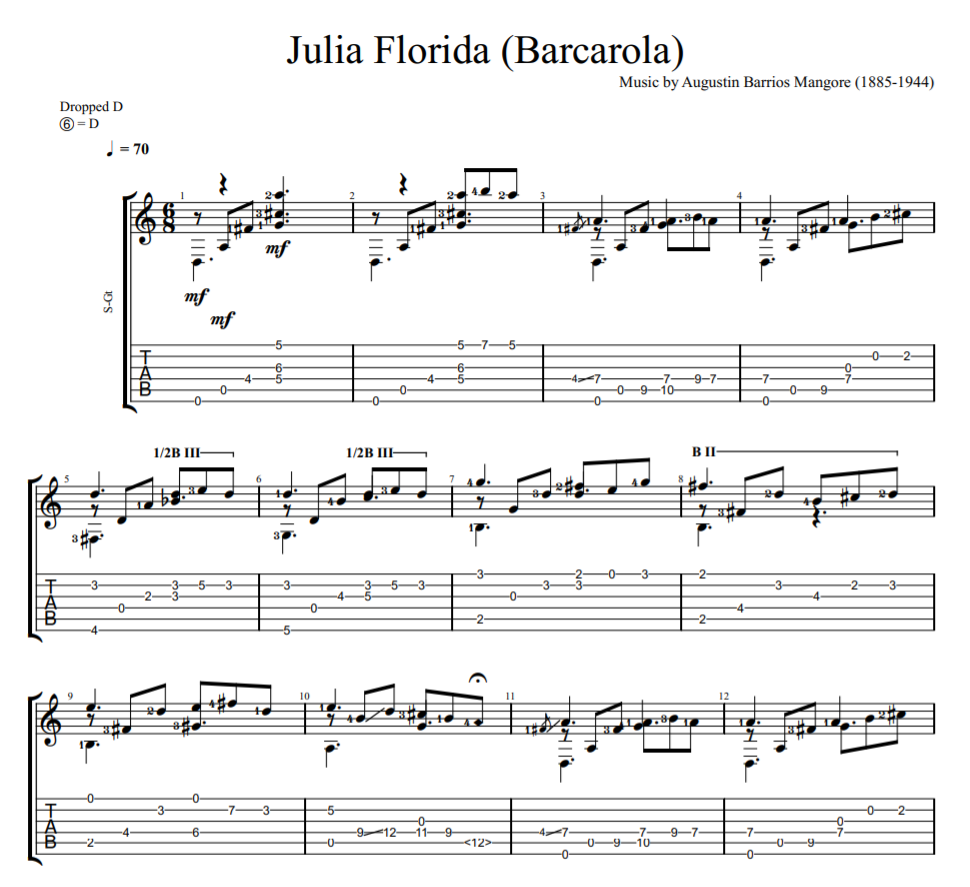 Julia Florida - Barcarola sheet music for guitar tab