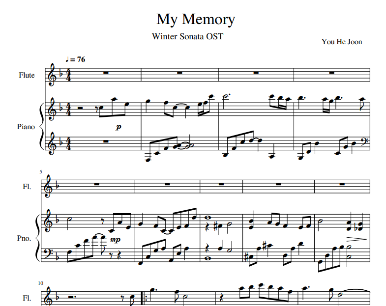 My Memory sheet music for flute and piano