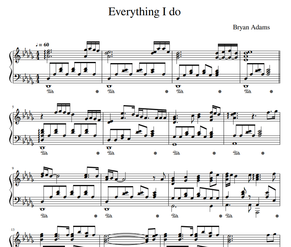 Everything I do (  I Do It for You ) sheet piano