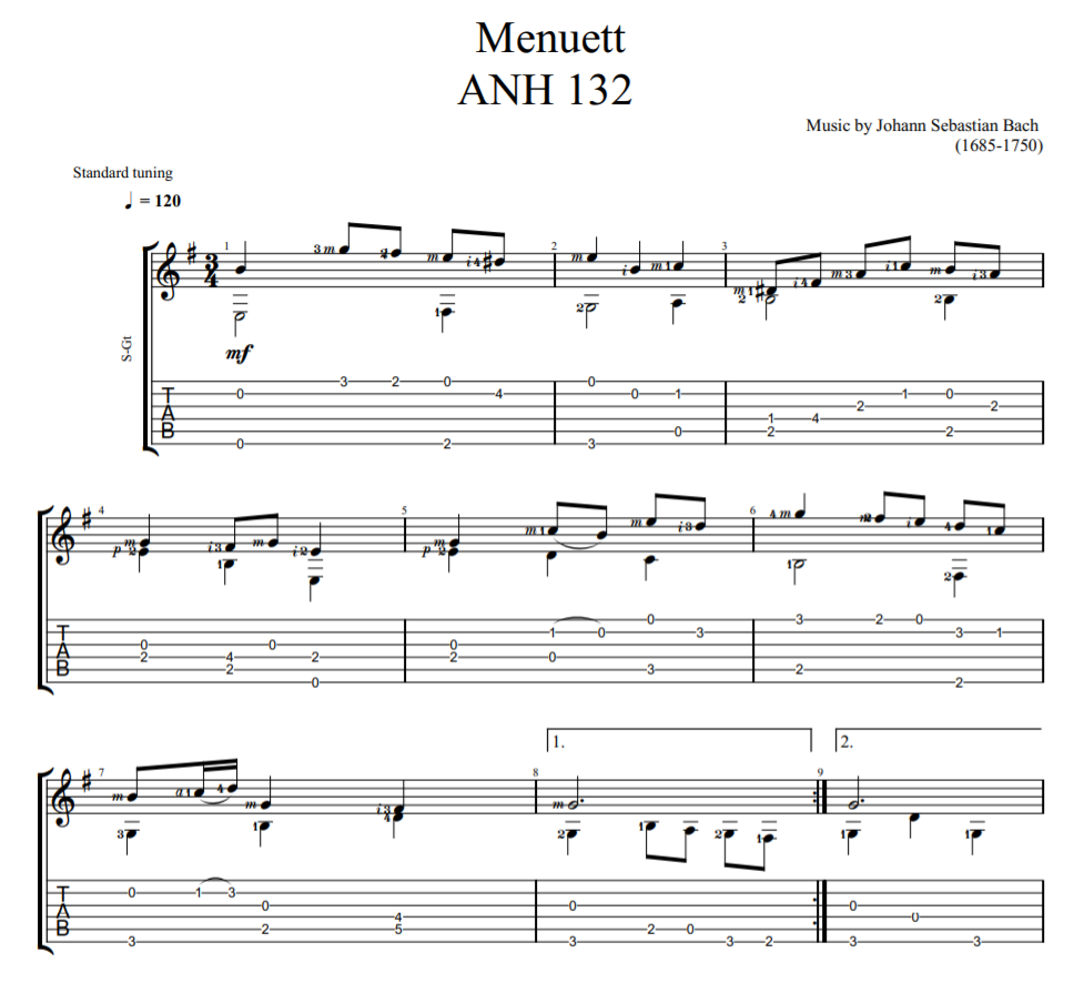 Menuett ANH 132 sheet music for guitar tab