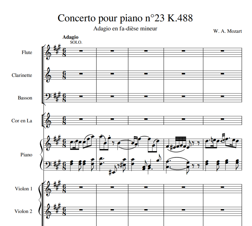 W. A. Mozart - Concerto pour piano n°23 K.488 sheet music for Flute