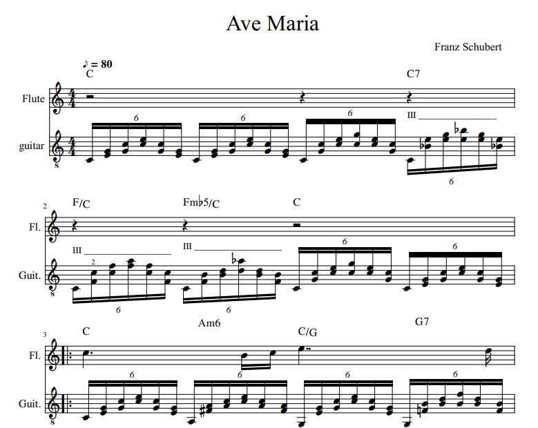 Franz Schubert - Ave Maria For Flute and Guitar tab