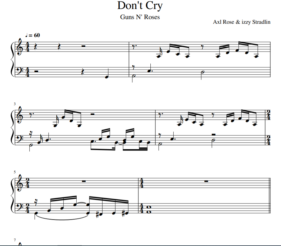 Don't Cry solo piano
