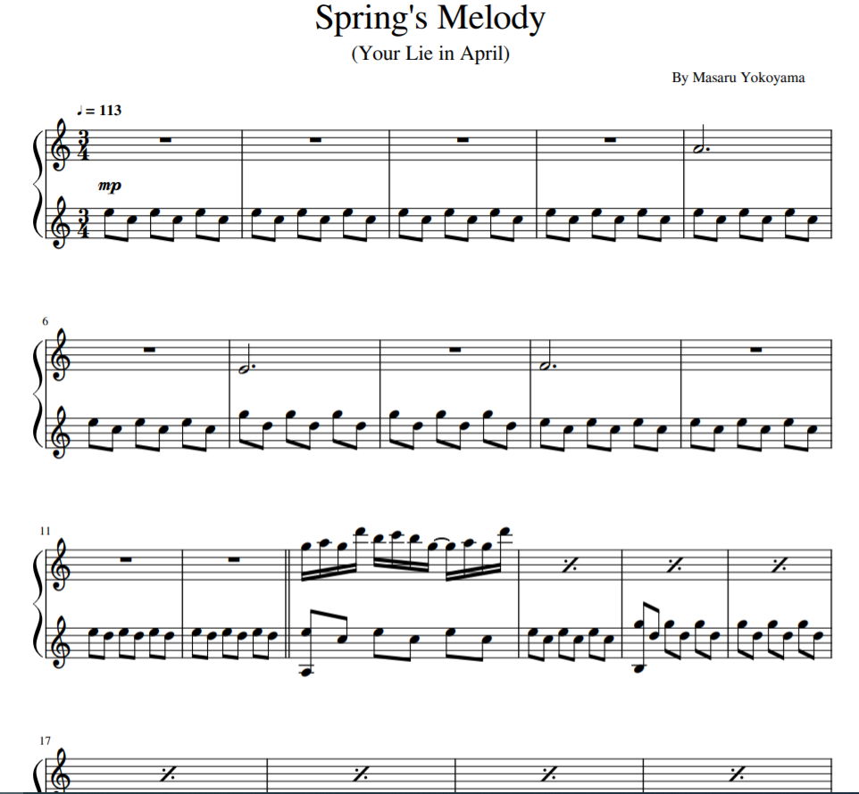 Spring's Melody (Your Lie in April) sheet music for piano