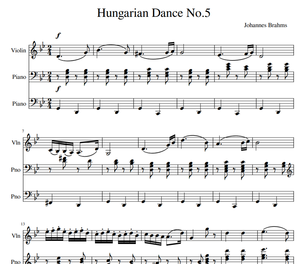 Hungarian Dance No. 5 in G minor for violin piano