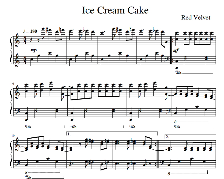Red Velvet - Ice Cream Cake sheet music for piano solo