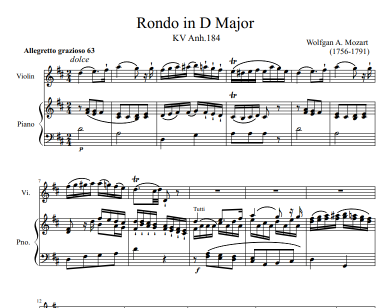 Rondo in D Major KV Anh.184 sheet music for Violin