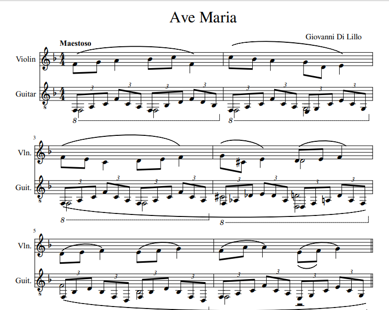 Giovanni Di Lillo - Ave Maria Sheet music for violin and guitar