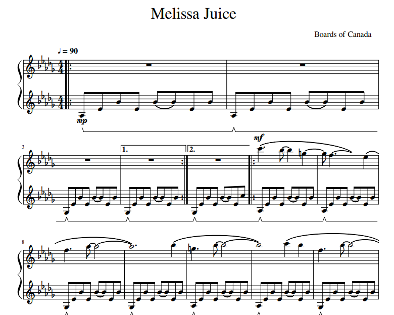 Boards of Canada - Melissa Juice sheet music for piano